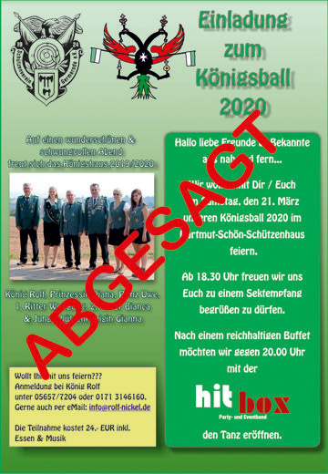 Koenigsball 2020 Flyer A4 Absage